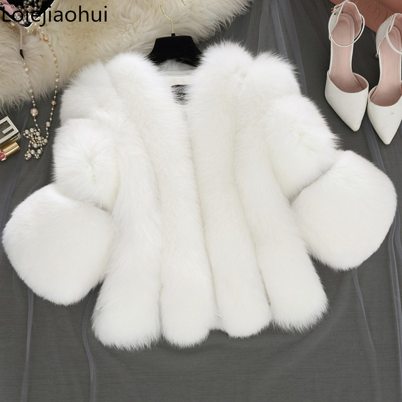 Brand Short Fur Coat Winter Fashion Women Faux Fox Fur Coats Furry Woman Fake Fur Jacket