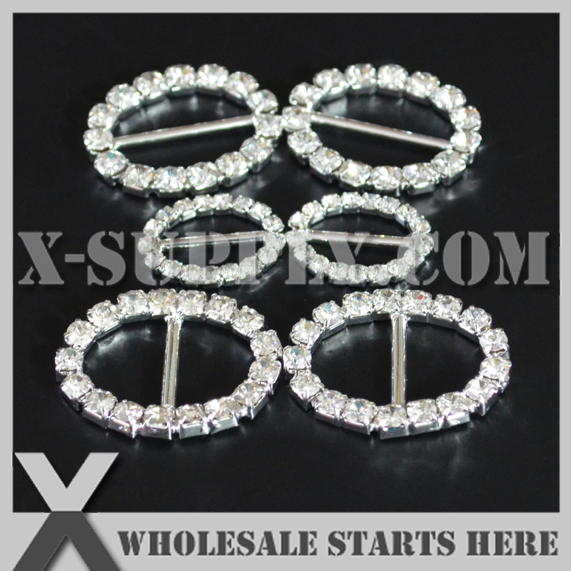 FREE POST Rhinestone Crystal Silver Magnetic Oval Clasps 25 x 13mm