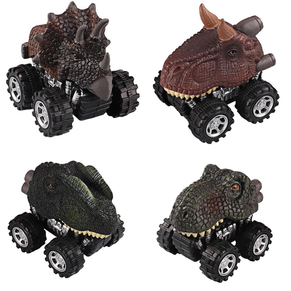 Mini dinossauro dino carros brinquedo com roda de pneu grande puxar para trás modelo de carro jurássico parque tyrannosaurus carro figura de ação brinquedos presentes