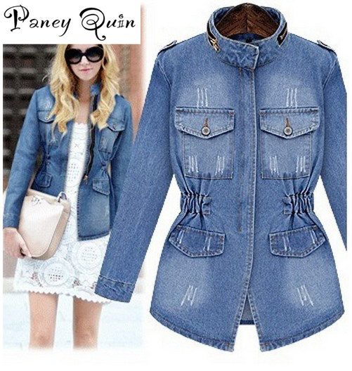 new women's denim   jacket   coat jaqueta feminina women slim zipper pockets   basic     jackets   outerwear jeans coat large size xxxxl