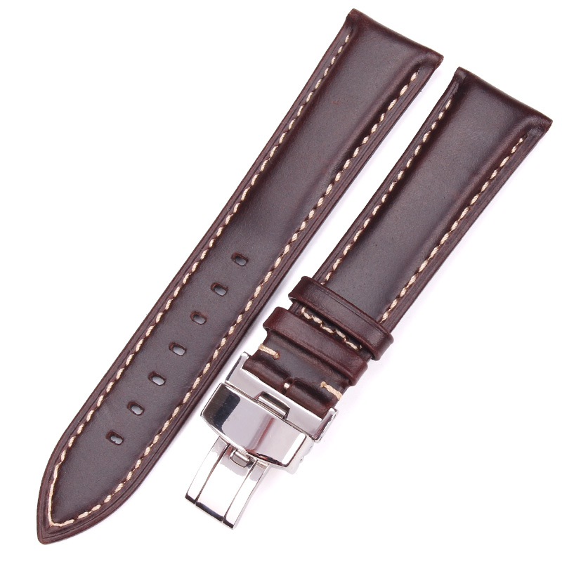 Black Dark Brown Vintage Smooth Watch Band 18 19 20 21 22 24mm Women Bracelet Strap With Silver Polished Deployment Clasp 18 19 20 21 22mm 24mm watchbands belt men women black brown high quality genuine leather watch band strap deployment clasp