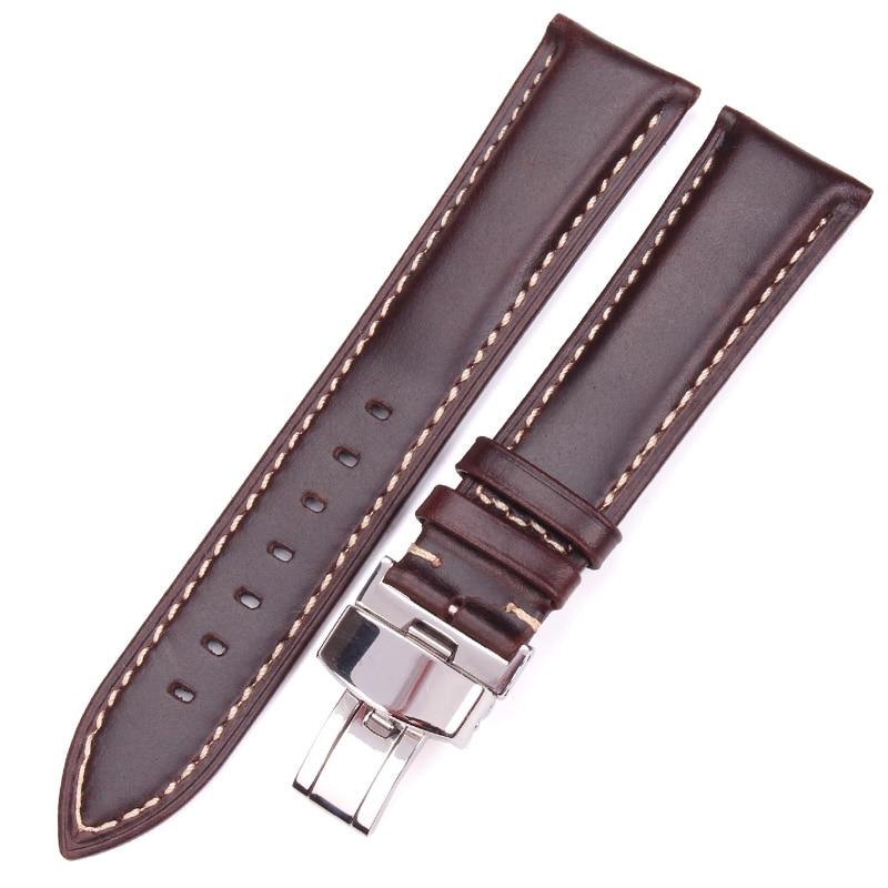 Black Dark Brown Vintage Smooth Watch Band 18 19 20 21 22 24mm Women Bracelet Strap With Silver Polished Deployment Clasp survival nylon bracelet brown