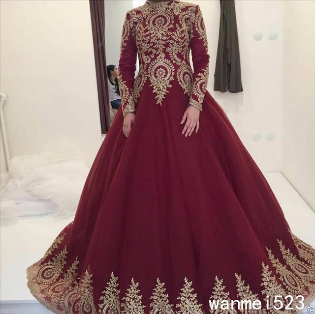Arabic Muslim High Neck Vintage Wedding Dress Gold Lieques Wine Color