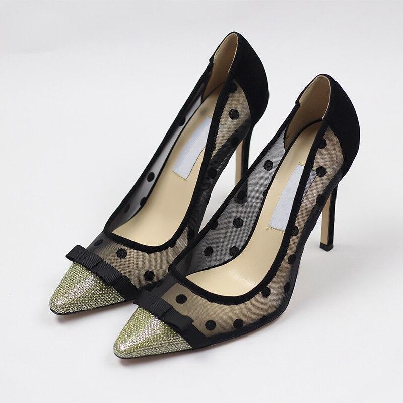 ФОТО 2017 Polka Dot Sexy High Luxury designer Suede Leather Pointed Toe Women Pumps Shoes European Designer Black Air Mesh New brand