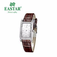 Eastar Elegant Rectangle Retro Watch Women Luxury Fashion Clocks Quartz Clock Female Diamond Crystal Leather Wristwatch