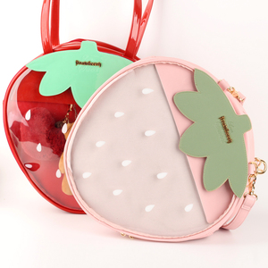 Image 2 - Bolsos de fresa Kawaii transparente Lolita Harajuku para mujer, bolsos de hombro para mujer, hermoso Color caramelo bolso Ita, regalo para chica dulce Itabag
