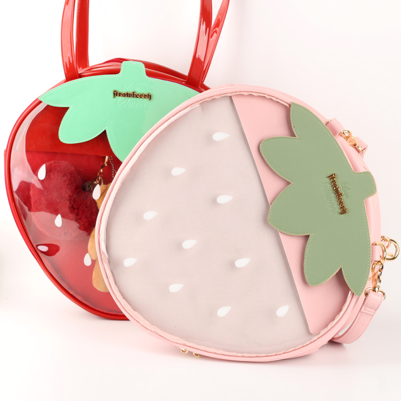 Us 31 42 40 Off Strawberry Bags Kawaii Clear Transpa Harajuku Women Shoulder Candy Color Lovely Ita Bag Sweet Gift Itabag In