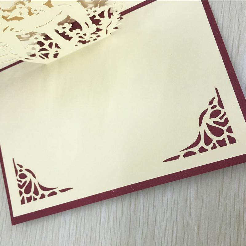 1pcs Angel Kiss Laser Cut Paper Greeting 3D Pop Up Kirigami Card Wedding Invitation Birthday Valentine's Day Postcards Gifts (2)
