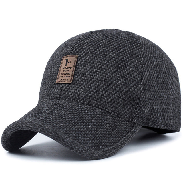 2019 brand baseball cap winter dad hat warm Thickened cotton snapback caps Ear protection fitted hats for men 1