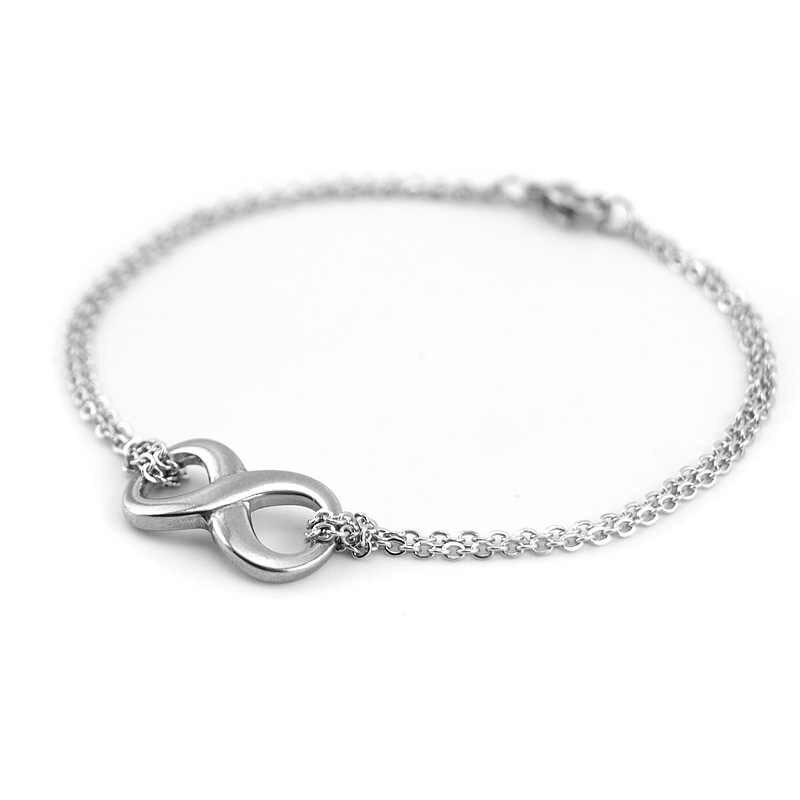 100% ze stali nierdzewnej bez krawędzi nieskończona miłość Symbol urok kostki bransoletki dla kobiet na zawsze nogi bransoletka Foot bransoletka obrączki
