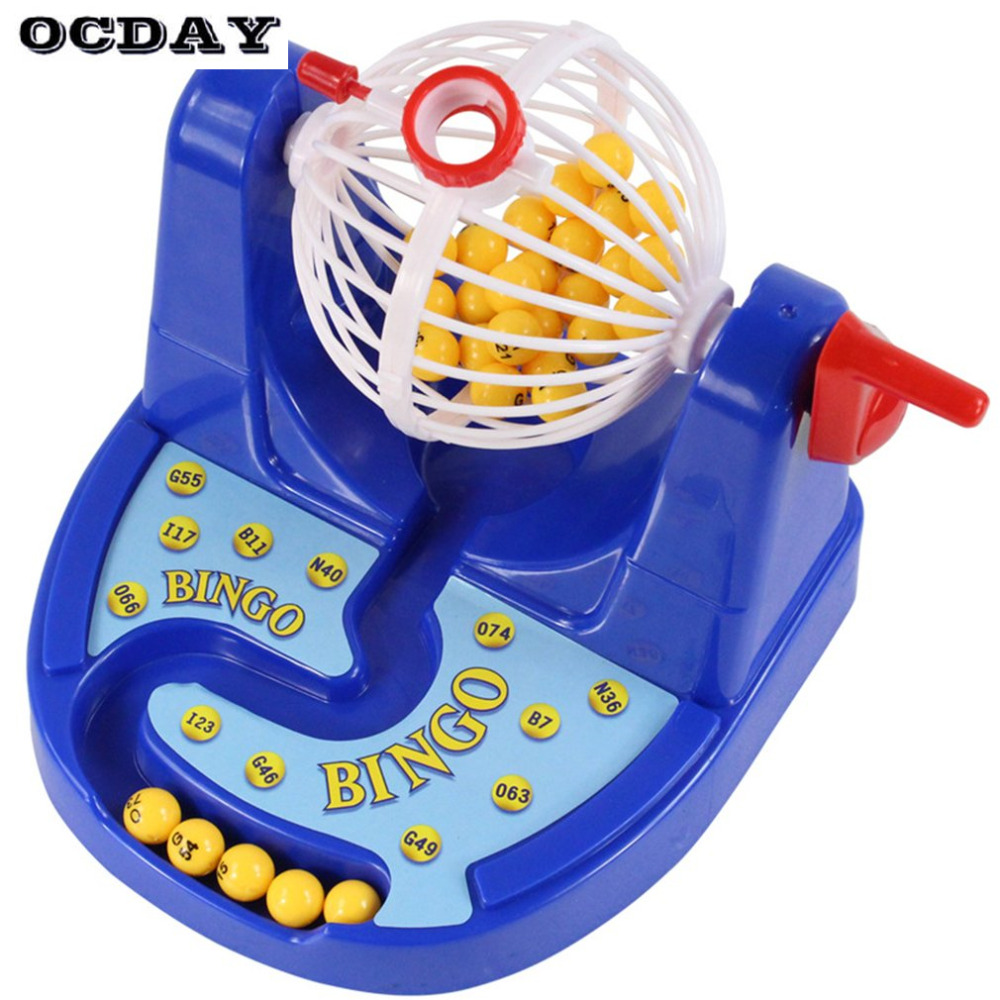OCDAY Funny Mini Bingo Game Kids Baby Toys Classic Gambling Family Interactive Bingo Card Ball Chip Machine Toy Set for Children