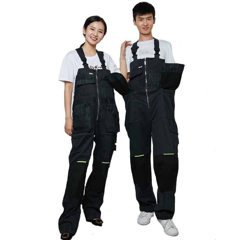 Bib Overalls Men Women Work pants Multi pocket Design Wear resistant Hip hop Working Coveralls Unisex