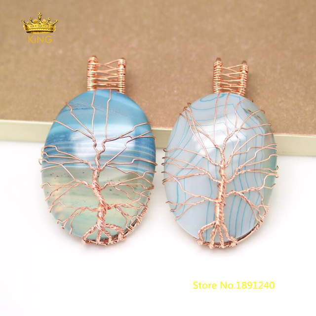 5pcs Natural Striped Blue Agates Oval Beads Cabochons Charms ...