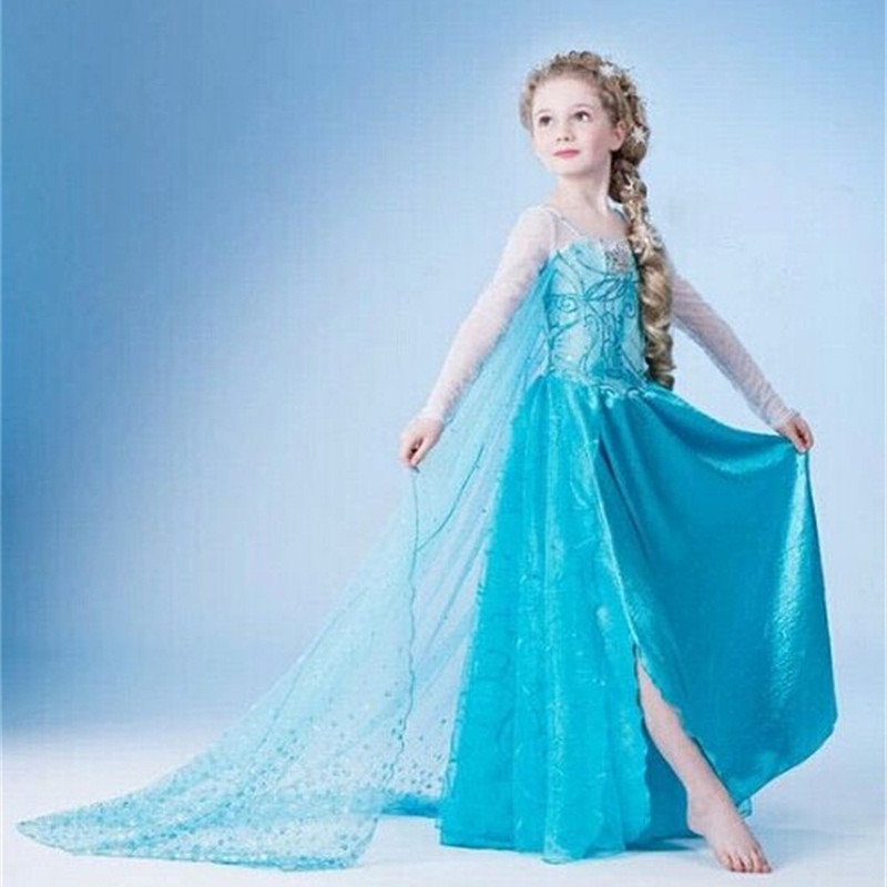 HTB1UJ0ZKeuSBuNjSsziq6zq8pXa4 Fancy 4-10y Baby Girl Princess Elsa Dress for Girls Clothing Wear Cosplay Elza Costume Halloween Christmas Party With Crown