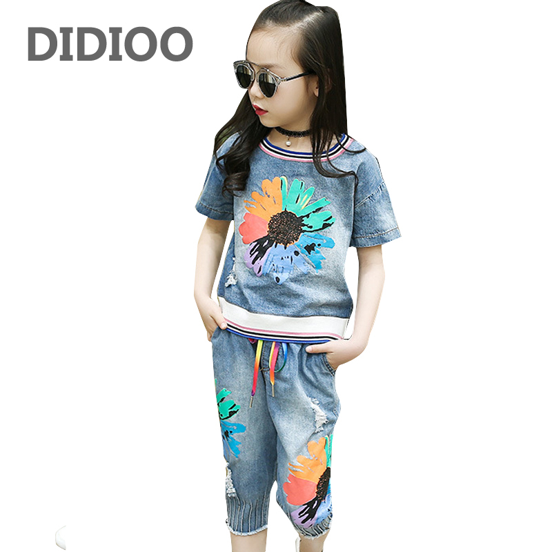 Girls Outfits Kids Denim Clothes Sets for Girls Summer Flower Shirts & Pants Suits Child Clothing Sets Jeans Tops & Shorts Suits retail kids 2017 baby girls clothes summer girls clothing sets kids clothes girl denim t shirts denim shorts sets 2 6 years 2