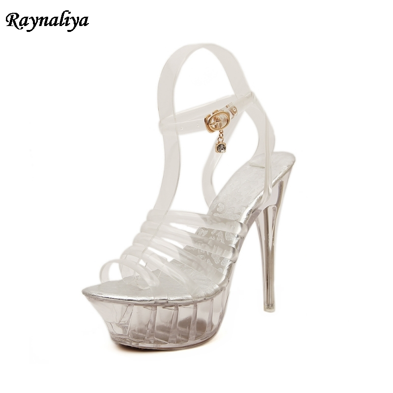 <font><b>2018</b></font> <font><b>Sexy</b></font> <font><b>Sandals</b></font> High Quality Ultra Thin Heel 14CM Transparent Crystal Women Shoes Model Catwalk Large Size MS-A0039 image