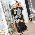 2017 spring tide marca nova flor lace dress sexy lantejoula águia solta de manga curta dress