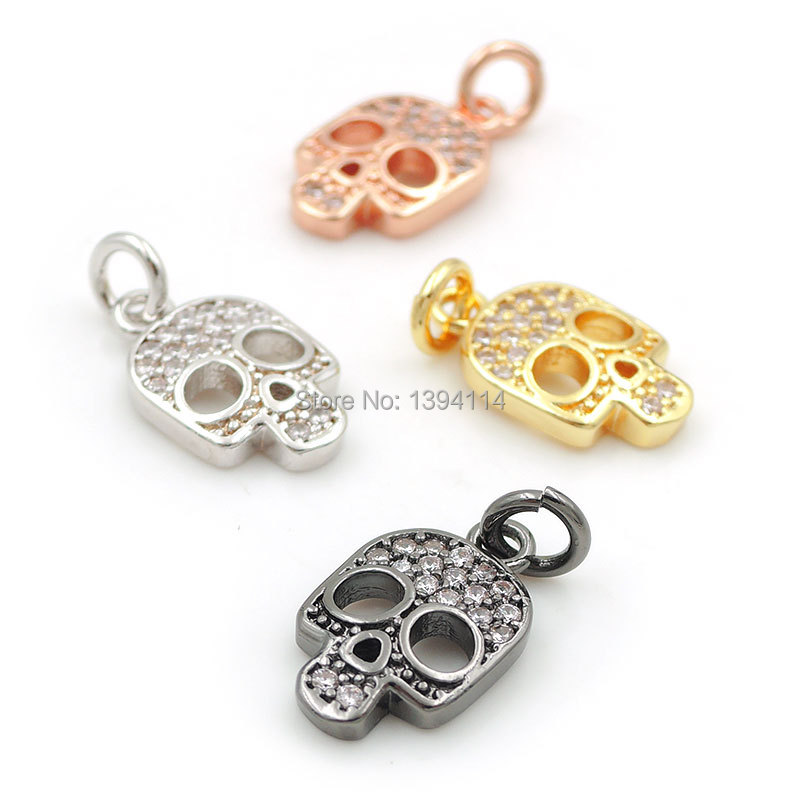 13 8 2mm Micro Pave Clear CZ Skull Charms Fit For Making DIY Bracelets Or Necklaces