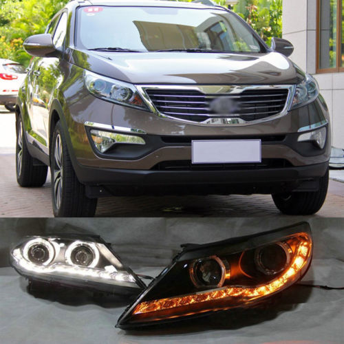 Ownsun Dual Angel Eye Projector Lens Two Stage LED Strip Headlights For Kia Sportage R double light lens angel eye projector h4 h7 two ray lens blue green [qp378 bg]