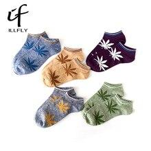 No Show Bamboo Summer Men s Funny Ankle Socks Hemp Meias Short Happy Maple Leaf sokken
