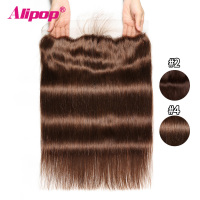 Pre Plucked Frontal Dark Light Brown Lace Frontal Brazilian Straight 13x4 Lace frontal Closure With Baby Hair Alipop NonRemy