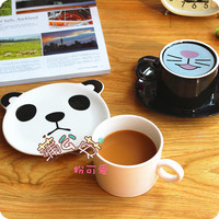 Ceramics Lovely Tableware Creative Coffee Cup Food Dishes Cartoon Panda Black Cat Decoration Cup Breakfast Plate