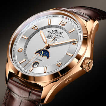 Switzerland Luxury Brand LOBINNI Watches Men Automatic Mechanical Men's Watch Multi-function Sapphire Moon Phase Clock L18016-3 - DISCOUNT ITEM  49% OFF All Category