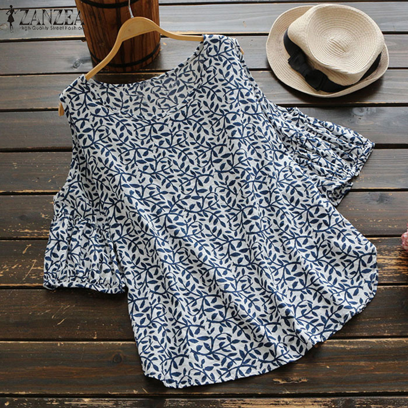 2019 ZANZEA Summer Boho Floral Printed Loose Off Shoulder Top Women Casual Lantern Sleeve Cotton Linen   Blouse     Shirt   Oversized
