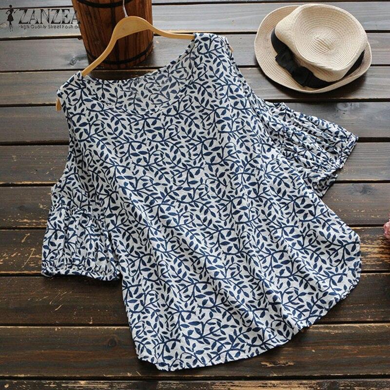 2019 ZANZEA Summer Floral Printed Loose Off Shoulder Top Women Casual Lantern Sleeve Cotton Linen   Blouse     Shirt   Oversized