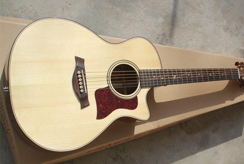 2019 nouveauté personnalisé 41 ''cutaway intégré pick-up naturel solide Spurce Top Koa dos et côté guitare électrique acoustique