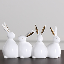 Creativity White Ceramic Four Little Rabbit&Ducks Desktop Display Statue Modern Simple Style Animal Sculpture Home Decoration