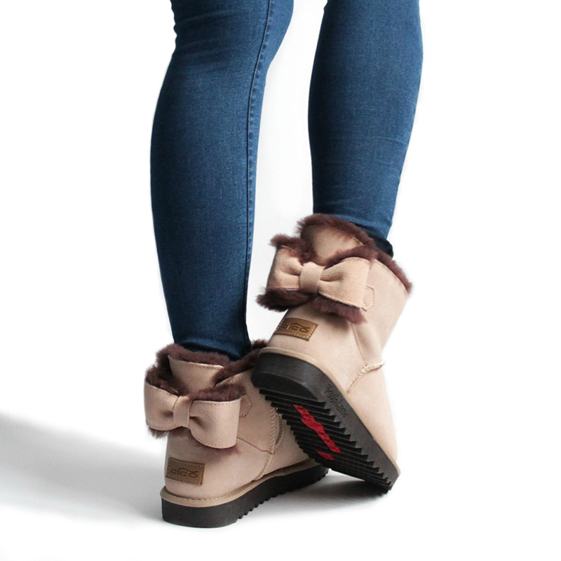 CICO Wool Women Snow Boots Cow Suede Women Winter Boots Fashion Women Ankle Boots with Beautiful Bowknot Decoration suede ankle snow boots