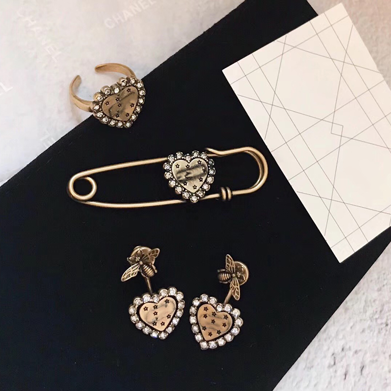 Hot Brand Fashion Party Jewelry For Women Vintage Copper Black Heart Brooche Earrings Rings Jewelry Set Heart Rings Adjustable цена