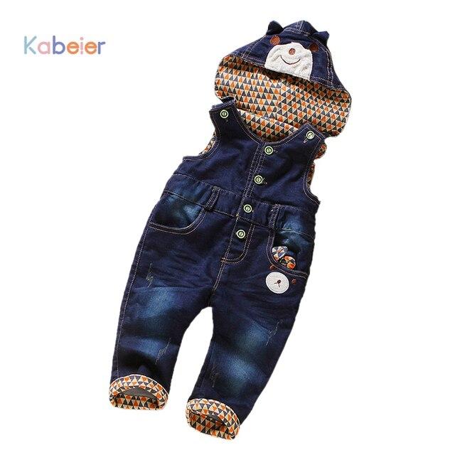 dda1a22501830c R$ 101.61 |Macacão jeans Para Meninos Meninas Roupas de Bebê Com Capuz  Calças Jardineiras Crianças Calças Jeans Casual Roupa Infantil Macacão ...