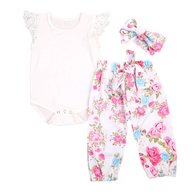 Floral Newborn Baby Girls Clothes Set Top Bodysuits Lace Sleeve Long Pants Headband Outfit Girl Costume Children 3PCS Set 3pcs newborn baby girl clothes set long sleeve letter print cotton romper bodysuit floral long pant headband outfit bebek giyim