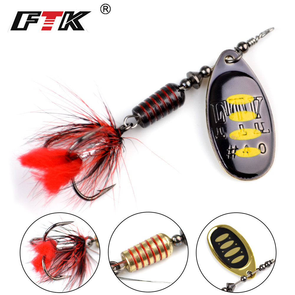 FTK 1pc Spinner Bait 7.5g 12g 17.5g Hard Spoon Bass Lures Metal Fishing Lure With Feather Treble Hooks For Pike Fishing 2