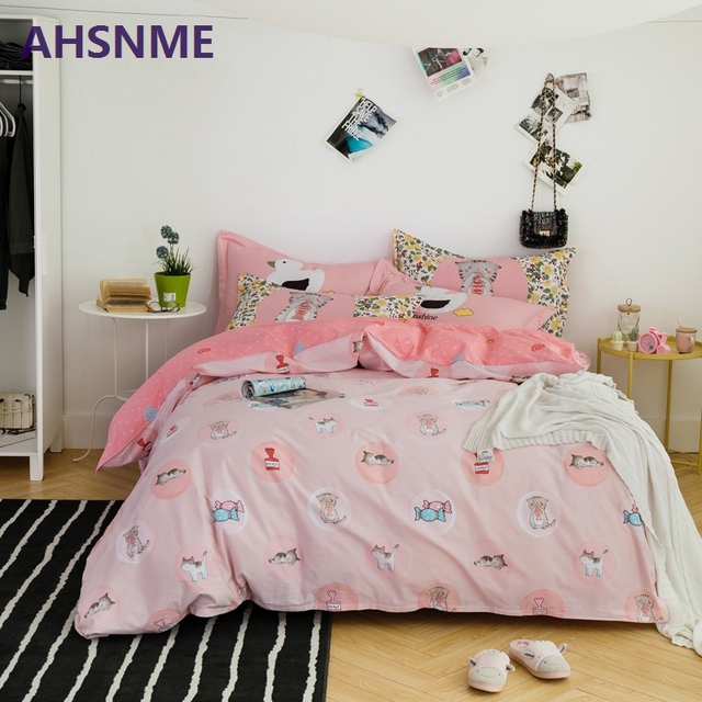 AHSNME 100% Cotton Bedding Items Europe Russia Australia size Pink + Gray Quilt Cover Pentagram and Flamingo Pattern Bedding