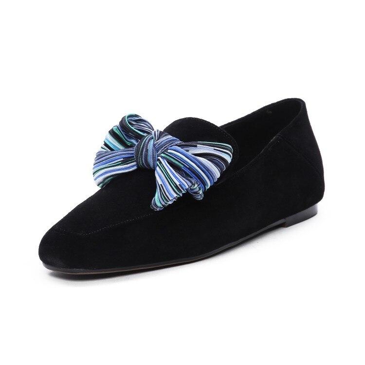Noir Black Appartements Nœud Couleur Confortable Daim blue Papillon Enfant Printemps Mljuese Chaussures Robe Parti De Automne Casual Femmes Mariage 2019 UFq0XE