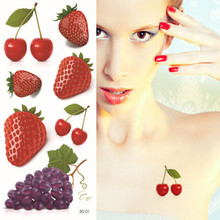3D Temporary Tattoo Sticker Women Style Sexy Body Art Fruit Strawberry Grape Designs Flash Tattoos