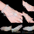 Bridal Wedding Crystal Rhinestone Slave Bracelet Wristband Harness &  Cuff  02W9