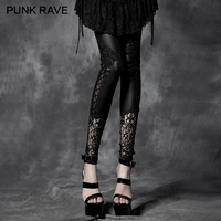 PUNK RAVE Gothic Black Lady Bud Silk Decoration Pattern Render Pants Lace Women Casual Female Hole