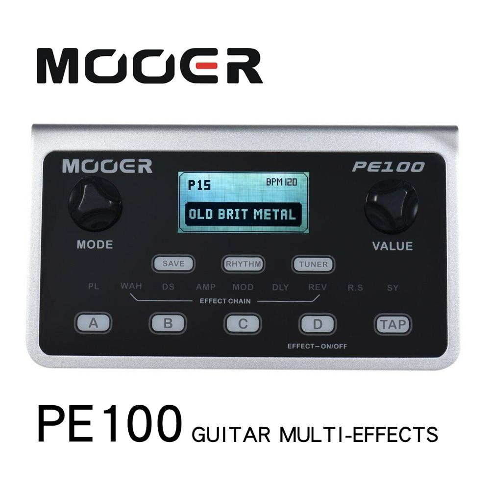 MOOER PE100 Multi-effects Processor Guitar Effect Pedal 39 Effects Guitar Pedal 40 Drum Patterns 10 Metronomes Tap Tempo
