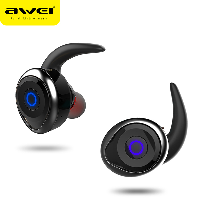 AWEI T1 TWS Bluetooth Earphone Ture Wireless Earbuds In-Ear Earpiece With Mic Stereo Mini Handsfree Headset For Phone With MIC 1