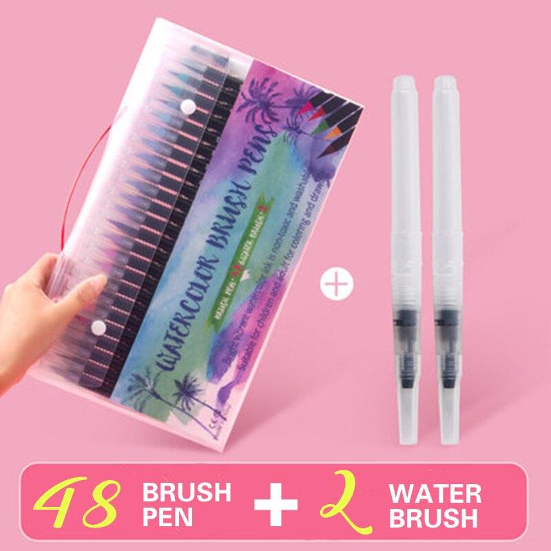48 pçs cores marcador de arte aquarela escova canetas para material escolar papelaria desenho livros para colorir manga caligrafia