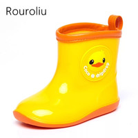 Rouroliu Children Cute Fashion Cartoon Ankle Rainboots Boys Girls Soft Comfortable Anti Slip PVC Waterproof Water Shoes CR3