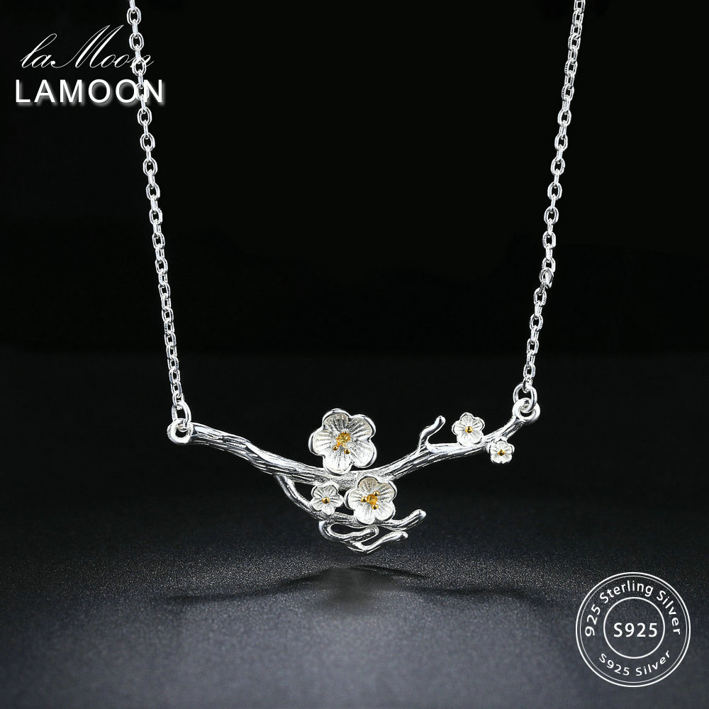 LAMOON 2018 New 2-Colors Plum Blossom Flower S925 Pendant Necklace 925-Sterling-Silver Fine Jewelry for Women Wedding LMNY008LAMOON 2018 New 2-Colors Plum Blossom Flower S925 Pendant Necklace 925-Sterling-Silver Fine Jewelry for Women Wedding LMNY008