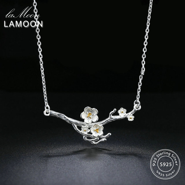 LAMOON 2018 New 2-Colors Plum Blossom Flower S925 Pendant Necklace 925-Sterling-