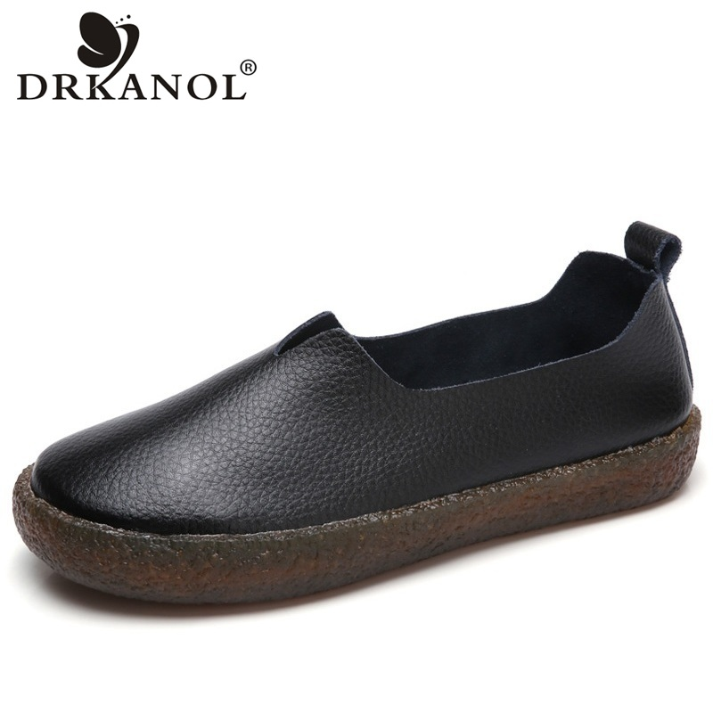 DRKANOL Women Flat shoes Round Toe Slip On Flats Loafers Women Genuine Leather Casual Shoes Black White Ladies Shoes size 43 cootelili women flats genuine leather shoes woman casual loafers slip on round toe ladies oxfords white plus size 40 41 42 43