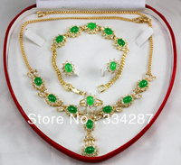 New Listed !Free Shipping 6X8MM Bead Dark green Jades Necklace Bracelet Earring Jewelry Set + Box