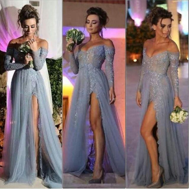 Sexy V-neck Long Sleeve Prom Dresses Grey Long A-line Tulle Side Slit Applique  Lace Sexy Prom Dress 2015 Vestidos De Festa 5e2ad6c859f1
